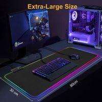 RGB 게임 마우스 패드 컴퓨터 게이머 마우스 패드 가벼운 큰 게임 고무 없음 미끄럼 방지 마우스 매트 큰 일정 정화 패드 PC 노트북 키보드 데스크 카펫