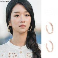 Hoop Huggie Huanzhi 2021 Retro, SEO Yea Olmama Tamam değil Ji Metal Geometrik C Şekli Dişli Büyük Küpe Kadınlar Için Jewelry1