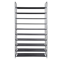 Simple Assembly 10 Tiers Non- woven Fabric Shoe Rack with Han...