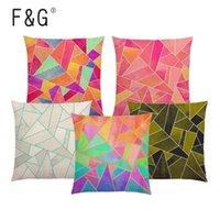 Caso astratta geometrica Cuscino Bianco Viola Nero Blu Rosa colorato triangoli oro linee arcobaleno Pietre auto divano cuscino