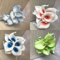 Navy Blue Picasso Calla Lilies Real Touch Flowers per bouquet da sposa Centerpieces Fiori artificiali per matrimonio 183 K2