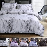 4colors Marble Pattern Bedding Sets Duvet Cover Set 2 3pcs B...