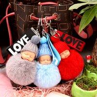 Schlafen Baby-Puppe Keychain Blumen-Pompom-Kaninchen-Pelz-Kugel-Schlüsselanhänger Fluffy Auto Schlüsselanhänger porte Schlüssel Bag Schlüsselanhänger