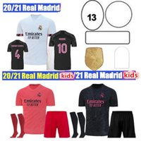 2020 2021Real Мадридские трикотажные трикотажные 20 21 Футбол Джерси Опасность Sergio Ramos Benzema Vinicius CamiSeta Футбольная рубашка Униформа Мужчины + Kids Kit