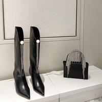 Sıcak Satış-Moda Tasarımcısı Bleather Diz Yüksek Çizmeler Deri Kadın Sivri Burun Yüksek Topuklu Pompalar Parti Ayakkabı Kadınlar