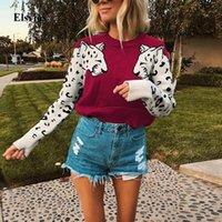 Elsvios motif léopard motif tricoté pull automne hiver manches longues pulls hauts femmes décontractés femmes pull pull cavalier pull femme1