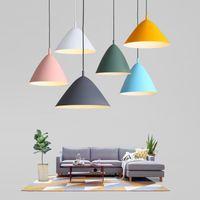 현대 주도 펜던트 조명 E27 마카롱 펜던트 램프 산업 북유럽 알루미늄 매달려 램프 룸 부엌 전등 식사