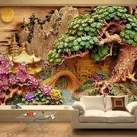 사용자 정의 산 물 풍경 3d 나무 조각 아트 장식 벽 그림 연구 거실 TV 배경 벽화 벽지