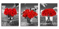 赤いバラのキャンバスの壁のアート黒と白の壁のアートの花の写真花の壁画のための浴室の寝室のキッチン