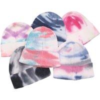 12Colors Tie Dye Beanies Unisex Men Women Crochet Beanies Hot Teens Hip Hop Knit Skull Caps Tuque Girls Boys Knitted Hats Headwear CZ101902