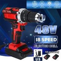 Tournevis de perceuse électrique sans fil 3 en 1 marteau 18 couple 48V double vitesse outils d'alimentation avec 2 batterie 201225