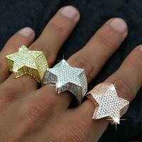 A forma di stella Mens 3D oro 14K placcato anelli di rame Bling fuori ghiacciato pietra Cz stella gioielli Anello Oro Argento Rosegold Hiphop