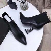 Fashion Womens High Head Boot Metallo Lettera Tacco Real Leather Boot Autunno Inverno Stivali da inverno Stivali martin con scatola taglia34-41