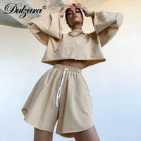 Dulzura Frauen 2-teiliges Set Sweatshirt Crop Top Aufflackern-Hülsen-Jogger Shorts Anzüge lose Maxi-Street Herbst-Winter-Haus
