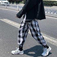 Zazomde Hip Hop Plaid Pantalones Hombres Moda Retro Pantalones Casuales Streetwear Hombres Salvaje suelto Tobillo Largo Mens Joggers Autumn1