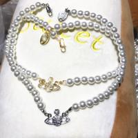 2021 Femmes Pearl Chaîne Collier Strass Orbit Pendentif Collier pour la Saint Valentin Fête de cadeau de la Valentin Fashion Bijoux Accessoires US Stock