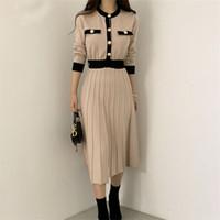Coreano elegante de malha longa vestido mulheres blocado de cor-breasted manga comprida o-pescoço uma linha plissada vestidos vestidos 2021