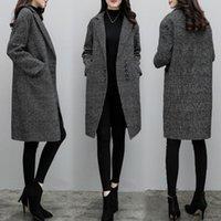Mulher feminina mistura jaqueta feminino longo seção coreana versão dos 2021 outono e inverno estudantes harajuku casaco xadrez retro