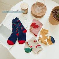 Doux enfants cerise Imprimé Chaussettes enfants Coton Chaussettes Automne / hiver Bébés filles Fleurs Knit Bas Fille Princesse Chaussette de S855