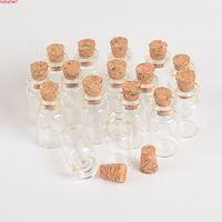 Commercio all'ingrosso 1ml mini bottiglie di vetro fiale con tappo di bottiglia trasparente in sughero e bottiglia trasparente 13 * 24 * 6mm 100pcs / lot spedizione gratuita
