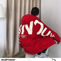 Privathinker starke warme Winterjacke Mann Parka beiläufiger loser Harajuku Mens Maxi-Parka Jacke mit Kapuze Druck Rote Kleidung 201012