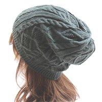 Шапочка / черепные колпачки мода мужской леди женская вязать зимний теплый вязание крючком шляпа плетена мешковатая кепка beeret beanie для женщин