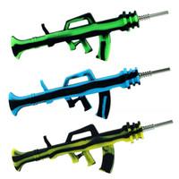 Creative AK47 Máquina de ametralladora Kit de colección de silicona Concentrado Tubo de humo con punta de titanio Plataformas de aceite de paja DAB