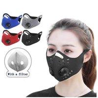 Radfahren Gesichtsmasken Staubdicht Winddicht Anti-Fog-Carbon-Activated Mit Filter-Ventil-Masken Wiederverwendbare Reitatemmaske IIA702