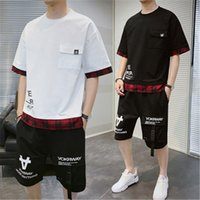 Man Letter Pattern Sets Fashion Trend Casual Short Sleeve T-shirt Shorts Tracksuits Designer Summer New Male Loose Pants Tshirts 2Pcs Suits