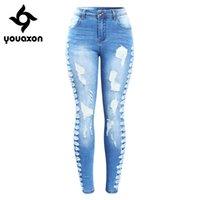 2145 YouAxon Neue Ankunft plus Größe Stretchy Ripping Jeans Frau Side Distressed Denim Skinny Bleistift Hosen Hosen für Frauen 201225