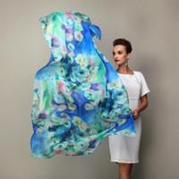2020 Frauen-Winter-lange Schal-Schal-Frühlings-Herbst Weibliche Blue Seidenschals druckt die Sommer-Maulbeereseide 100% Strand Vertuschung