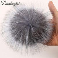 Шапочки / черепные колпачки Dankeyisi DIY енота меховые помпоны Pompon Real Pompoms Pom Poms для шарф перчатки шляпы Cap 14-15см