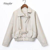 Fitaylor Весна Женщины Vintage Punk кожаные куртки Batwing рукавом Тонкий PU искусственной кожи BF куртки Короткие пальто Основные Bomber