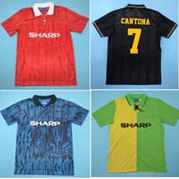 1994 Man UT Retro Jersey 92 93 94 Cantona Giggs Paul Scholes Roy Keane Beckham Soccer Jerseys 1992 1993 Giggs 축구 셔츠