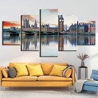 5 Panel de arte moderno de pared Impreso del marco de la lona representa London Bridge City View Pintura del cartel Decoración para sala de estar