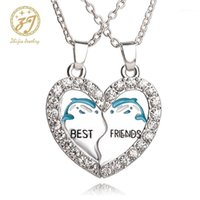 قلادة القلائد Zhijia 2PCS الأزرق الدلفين قلادة أصدقاء حجر الراين القلب الحيوان ل صديق الصداقة مجوهرات هدية 1