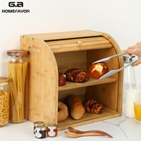 Storage Box Bamboo Bread Box Bins With Cutting Board Double Layers Food Containers Big Drawer Kitchen Organizer Home Accessories 201015