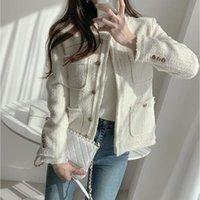 Trajes de mujer blazers cbafu vintage delgado mujer blazer manga larga o cuello tweed traje abrigo chaqueta de lana Outwear blanco oscuro gris otoño