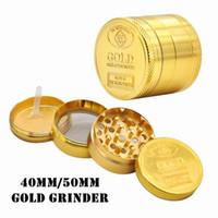 New Gold completa 40mm 50mm 4 capas SF California aleación de zinc Grinder Grinder de humo de tabaco Vape Molinillos accesorios de fumar