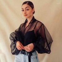 As blusas das mulheres camiseta BEFORW 2021 Moda Outono Mulheres Perspectiva Bubble Sleeve V Pescoço Botão Gaze Senhoras Elegante Malha Camisa Blusas Top