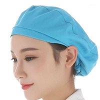 للجنسين الغبار تنفس المطبخ الشيف قبعة مطاطا مصنع العمل كاب غطاء الشعر 1