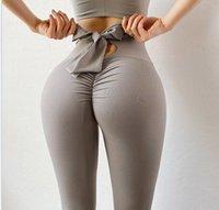 2021 Bowknot Lift Hip deportes pantalones deportes de cintura alta yoga leggings scrunch tope entrenamiento deportes mujeres fitness leggings gimnasio corriendo medias 122401