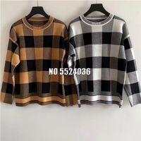 designer Sweaters Women autumn Woolen soft Ladies round neck long sleeve Woman Plaid Knited Sweater 201017