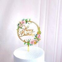 Moda Bolo Decoração Cartão Inserção Acessórios Amor Acrílico Flower New Feliz Ornaments Casamento Suprimentos Nova Chegada 3zw K2