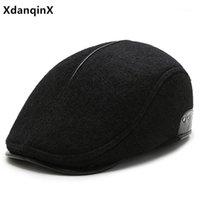 Береты xdanqinx мужская зимняя британский винтажный повседневный все-матч теплый шерстяной шапку Ретро бренд Snapback DAD Thermal наушник Cap1