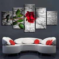 Canvas Wall Art Pictures Home Decor 5 Pezzi belle pitture di pietra Fiori modulari HD stampa Roses Lotus Daisy Poster incorniciato