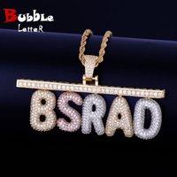 Nombre personalizado Colgante Joyería Pequeña burbuja letra Material Cobre Cubic Zircon Hip Hop Rock Street con cadena de cuerdas