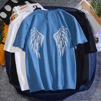 Angel Wings Stampato manica corta T 2020 Estate Fashion Mens Rock Tshirts Casual Rapper Uomo Glow Tee Shirt Abbigliamento da uomo