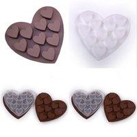 2021 심장 모양 실리콘 초콜릿 금형 부드러운 맑은 젤 아이스 사탕 쿠키 케이크 베이킹 모델 발렌타인 데이 파티 장식 선물 GG11304
