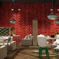 Duvar Kağıtları Vintage Huai Eski 3D Simülasyon Tuğla Desen Kırmızı Duvar Kağıdı Cafe Bar Restaurant